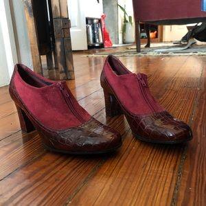 Vintage Shoes - Vintage oxblood snakeskin heeled boots